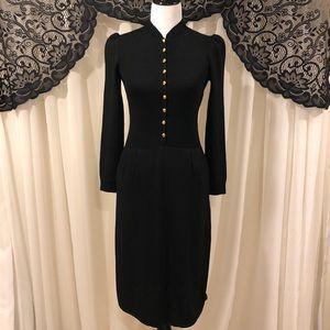 St. John Vintage Wool Santana Knit Button Dress